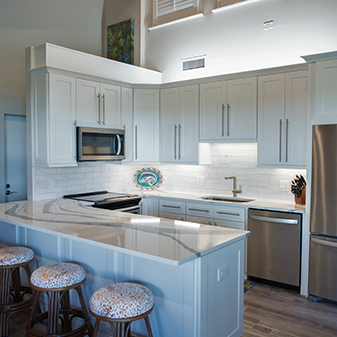 Beach front condo kitchen remodel by Flooring USA Abbey Kitchen & Bath Design Center