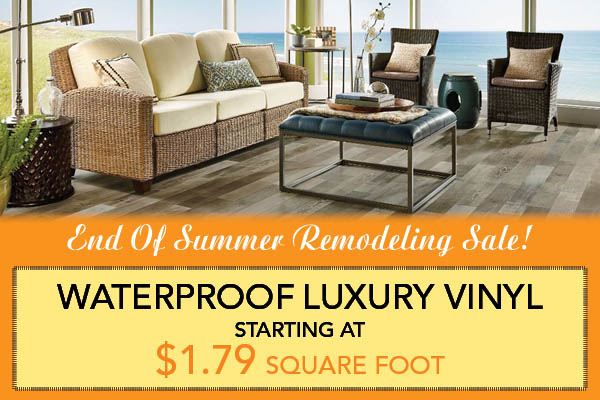 Waterproof luxury vinyl starting at $1.79 sq.ft. during the end of summer remodeling sale at Flooring USA in Stuart!