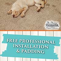 Free professional installation and padding with any Stainmaster® carpet purchase!